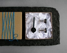Paper anniversary gift for him • Eco-friendly upcycled paper gift set • Cufflinks & tie clip set