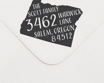 OREGON address stamp. Oregon state silhouette address stamp. Oregon state stamp. Choose from wood-mounted or self-inking stamp.
