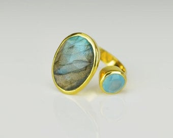 Double Stone Ring, Oval Labradorite Ring, Adjustable Ring, Blue Chalcedony ring, bezel set ring, Any size Ring, Open Ring, Large Labradorite