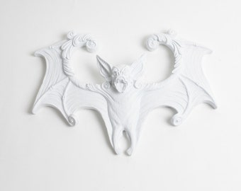 Batman Decor Sculpture in White - The Luna- White Resin Bat Decor - Gothic Halloween Home Decor - Resin Bat Wing Decor White Faux Taxidermy