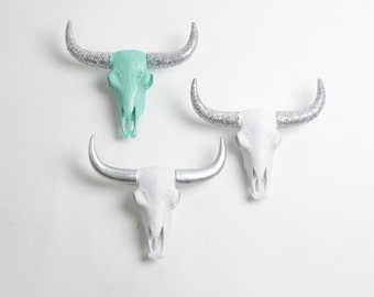 Set of 3 Faux Animal Skulls - Resin Bison Skull Head by White Faux Taxidermy - Western Decor - Animal Decor & Hanging Ornament
