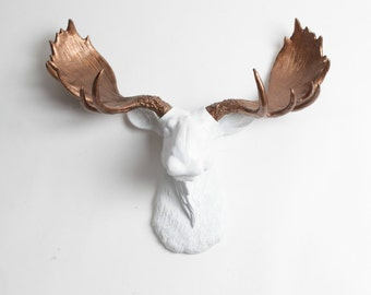 Faux Moose Head -The Boston White Head W/ Bronze Antlers - Moose Head Mount By White Faux Taxidermy Chic & Charming Animal Wall Sculptures