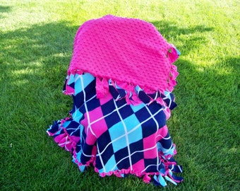 Pink and Argyle Hand Tied Fleece Blanket Throw