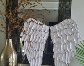Wood Angel Wings Wall Art, Carved Look Angel Wings Sculpture, Nursery Art, Angelic Choose Your Color White, Gold, Silver