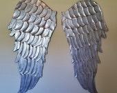 Clearance Price Angel Wings Wall Art, Carved Look Angel Wings Wall Decor, Vintage Architectural Wings, Large Metal Look Silver Angel Wings