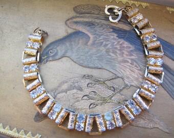 Booklink Goldtone Rhinestone Crystal Chain Link Bracelet/ HEARTS/ Sweetheart Jewelry/Romantic Vintage Costume Fashion Jewelry/Gold Tone Link