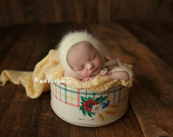 Newborn Pale Yellow Angora Bonnet Photography Prop, MADE TO ORDER