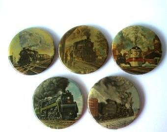 Vintage Train Locomotive Buttons Lot of 5