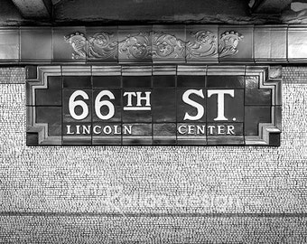 New York City Subway Sign • NYC Subway Art • 66th Street • Lincoln Center • Subway New York Black and White Photo, Art Deco PhotographyPrint