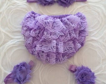 Purple Diaper Cover, Purple Headband, Bloomers, Baby Girl Clothe, Newborn-Infant, Toddler Bloomers, Photo Prop, Infant Bloomers