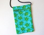 Pouch Zip Bag Green TURTLE Fabric. Great for walkers markets travel.  Cell Phone Pouch. Many uses. Small fabric Purse.  turtle bag