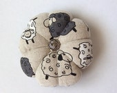 Pincushion SHEEP FABRIC. Great for a sewing gift - Round Pin cushion. Double sided sheep. Baa . Needlework gift. sheep flock. Pair of sheep