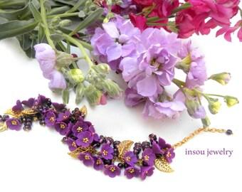Violet Bracelet Flower Bracelet Romantic Bracelet Gift For Her Wedding Jewelry Bridesmaid Gift Statement Bracelet Handmade Bracelet