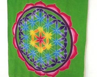 Wall hanging Hand Painted Batik Flower of Life wall hanging Sacred geometry