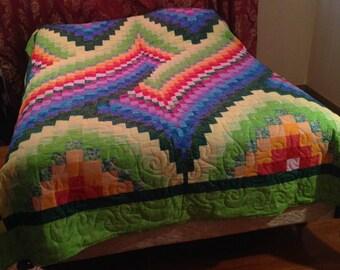 Custom Rainbow Bargello Full Size Quilt