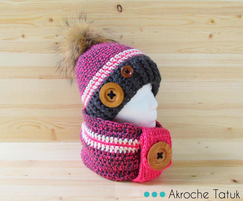 kit rustik ensemble rose et gris tuque bonnet cache cou snood. Black Bedroom Furniture Sets. Home Design Ideas