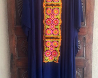 Embroidered chiffon kaftan