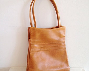Vintage Early 1970s Caramel Brown Leather Boho Bag Retro Purse