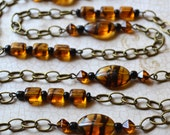 Tortoise Shell Look Long Chain Necklace Downton Abbey Brown Earth Tone 1920s Antique Bronze Hand-beaded Edwardian Era Beaded FREE Shipping