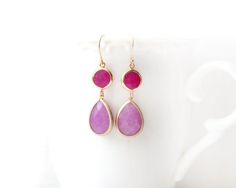 Purple and Fuchsia Jade Stone Hook Gold Plated Earrings