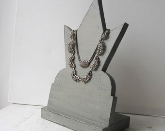 SALE Gray Architectural Starburst Necklace Display