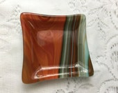 Fused Glass Ring Dish, Turquoise Amber Brown Southwest Square Ring Dish, Trinket Tray