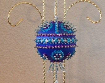 Blue Satin Sequin Center RickRack Ornament