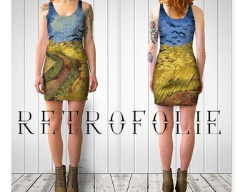 van Gogh Fitted Dress, wheatfield and crows, bodycon dress, tight fitted by retrofolie