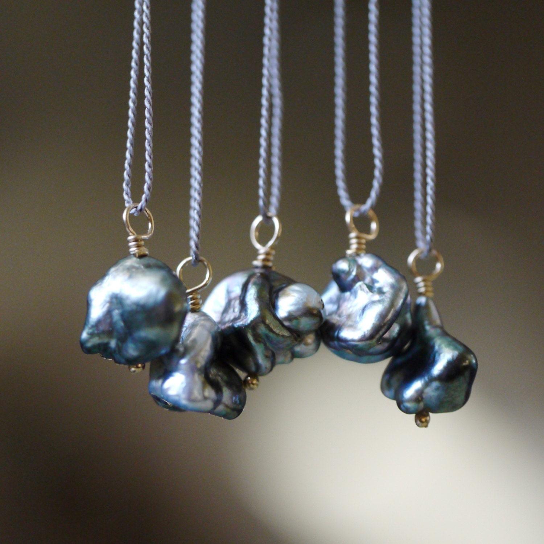 Black Tahitian Pearl Pendant Baroque Keshi Pearl Necklace