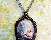 Organica Mechanica, art cameo pendant, 30x40mm, art glass pendant, fancy necklace, ornate jewelery, skull art