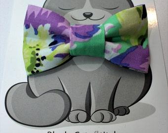 Floral Bow Tie, Cat Bowtie, Dog Collar Accessory, Pet Wedding, Flowers, Purple, Green, Summer Wardrobe, Slides on Collar, Elastic, Pretty