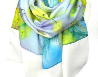 Hand Painted Silk Shawl. Luxury Heavy Scarf. Birthday Gift for Her Wedding Bridal Floral Scarf Silk Art Unique Handmade 16x68in Ready2Ship