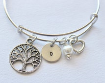 Family Tree Initial Bracelet - Charm Bracelet, Bracelet Charm, Family Tree Gifts, Family Tree Gift Ideas, Affordable Gifts, Family Tree