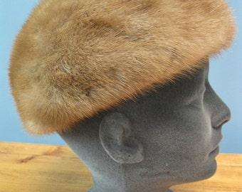 Vintage 1960's Mink Pillbox Hat
