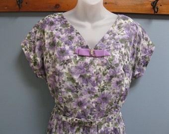 Vintage 1960's Mauve Floral Dress Lilac Chiffon Mother of Bride Summer Wedding Large Size
