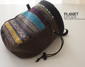 Chalk Bag - Lake Blue yellow stripes, grayish brown, patchwork, gift for dad
