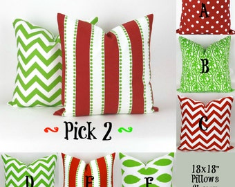 "Two Christmas Throw Pillow Covers - 18x18"" - Mix/Match Green Red Decorator Pillow, Accent Pillow, Holiday Decor, Cushions, Pemier Prints"