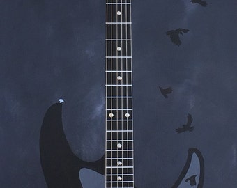 Electric Guitar, Wall Art, Painting, Guitar, Abstract Art, Crows, Raven, Electric guitar painting with actual guitar strings and saddle