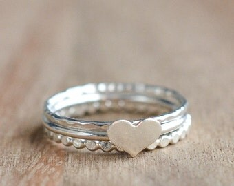 Sterling Silver Heart Stacking Ring Set - Set of 3 Sterling Silver Stacking Rings - .925 Sterling Silver Heart Ring - Mother's Day Gift Idea