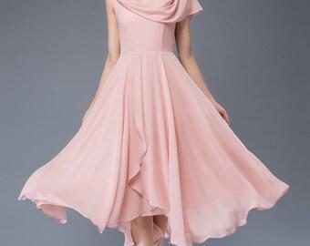 Pink chiffon dress-prom dress-maxi dress-party dress C943