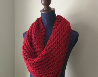 Red Infinity Scarf . Crochet Scarf . Red Knit Scarf . Poppy Red Cowl . Red Scarf . Made in USA . Oversized Scarf . DottieQ . Valentines Gift