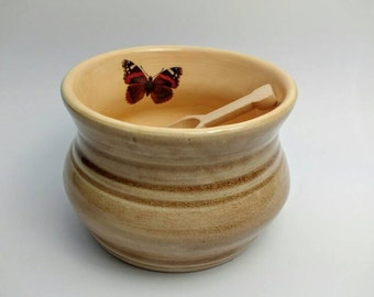 Pottery Salt Bowl + Wooden Spoon Gift for mum, handmade rustic, kitchen gift, home decor, butterfly pottery, Made in Uk Wedding Gift Idea