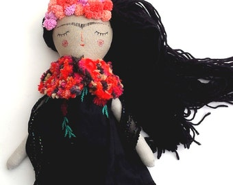 Drawsy Frida Doll, Handmade Doll, OOAK Doll, Little Frida Rag Doll, Frida Kahlo Doll, Heirloom Doll