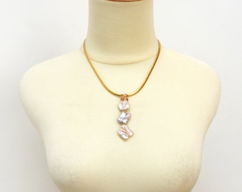 Stacking Twin Biwa Freshwater Pearls Collar Necklace in Gold Stainless Steel Flat Chain, Elegant Pearl Jewelry