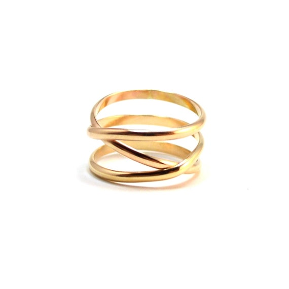 Gold Infinity + 1 Ring. Criss Cross Statement Ring. Modern Minimal Crossover Ring.