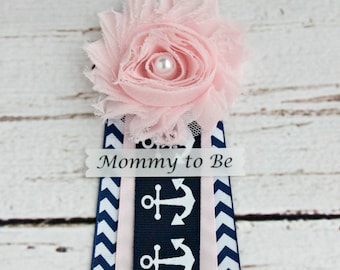 Pink Nautical Baby Shower Corsage  Mommy to Be Grandma to Be Pins Badge Baby Shower Ribbons Anchor Corsage CapiasAhoy Nautical Shower