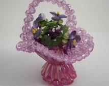 Vintage Beaded Basket Filled With Violets Flowers Handmade Crafts 1960s Retro Kitsch Plastic