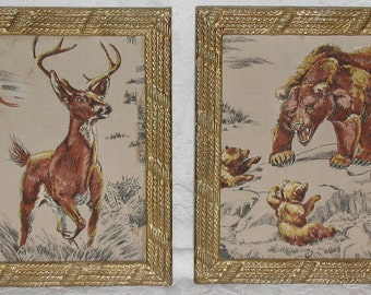 Rustic Vintage Wildlife Scenes In Funky Frames Free Shipping in USA