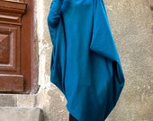 NEW Oversize Teal Loose Casual Top / Asymmetric Raglan Long Sleeves Tunic Knit Dress / Maxi Blouse Turtle neck Tunic A02058