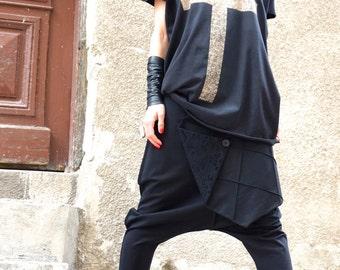 NEW Loose Casual  Black Drop Crotch Harem Pants/ Extravagant Black Pants /Cotton leggings pants by AAKASHA A05488